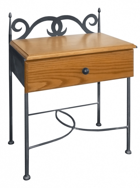 Table de nuit cartagena bois lits romantiques iron art - Table de chevet en fer ...
