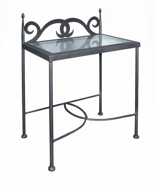 Table de nuit cartagena verre lits romantiques iron art for Table de nuit romantique