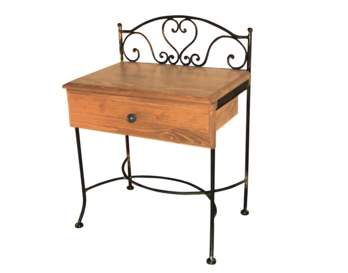 Table de nuit malaga bois lits romantiques iron art for Table de nuit romantique