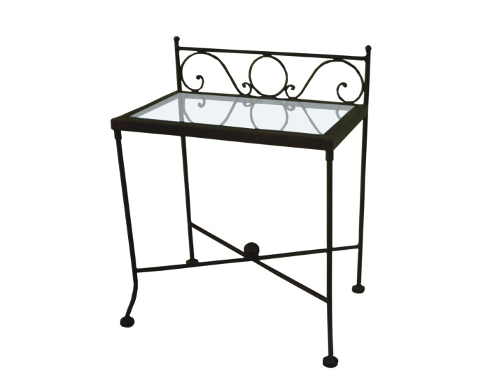 Table de nuit romantic verre lits romantiques iron art for Table de chevet en fer