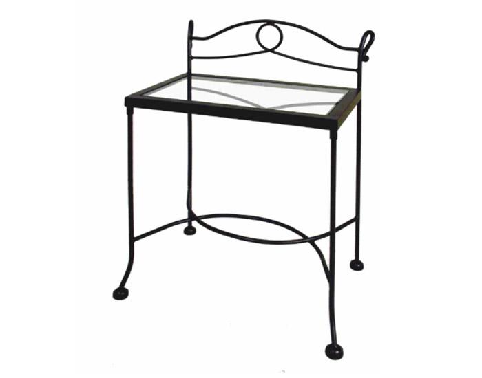 Table de nuit modena verre lits romantiques iron art for Table de nuit romantique