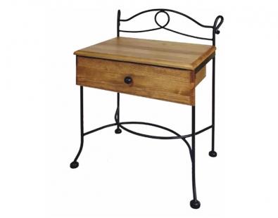 Table de nuit modena bois lits romantiques iron art for Table de chevet en fer